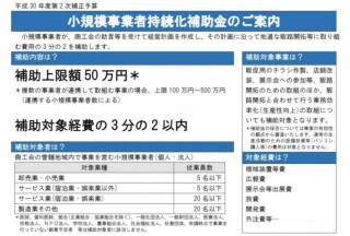 小規模事業者持続化補助金のご案内(6月12日締切)
